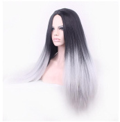 Gradually become white hair witch Wig Bangs Piece Long straight hair for Lady
