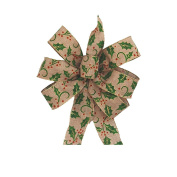 Holly Berry Wire Edged Tan, Green and Red Holly Leaf Christmas Bow - Approximately 30cm