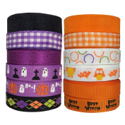 DUOQU 24 Yards 1cm 12 Styles ( 12x 2yd ) New Style Halloween Ribbon With Grosgrain Ribbon Plaid Ribbon Snow Yarn Printed Halloween Element Pattern Valued Packing Orange And Purple Series
