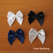 10pcs (Black) Small Ribbon Bow Embellishment 25mm White Royal Blue Black Grey Cold Colours Cool Magical Girl Lolita Fashion Cosplay Sewing Craft DIY