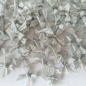 100 Pcs Mini Silver Ribbon Bows Crafts Party Decoration