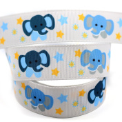 """Midi Ribbon Elephant Print Grosgrain Ribbon 7/8"""" 22mm Wide 50 Yards/Roll-For DIY Crafts Hair Bows Hair Clip Making,Home Party Decor Gift Packing-Design 3"""