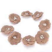 10 Pcs Hessian Burlap Flowers Rustic Bridal Wedding Craft Making Decor By Crqes