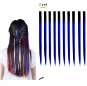 FESHFEN 10 Pcs Black to Dark Blue Two Tones Ombre Straight Clip on in Hair Extensions Hairpieces 46cm Long Remy Hair Coloured Party Highlights Hair Accessories DIY Cosplay Gift Hairpin