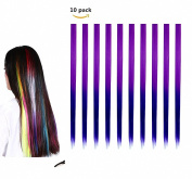 FESHFEN 10 Pcs Raisin Purple to Dark Purple Two Tones Ombre Straight Clip on in Hair Extensions Hairpieces 46cm Long Remy Hair Coloured Party Highlights Hair Accessories DIY Cosplay Gift Hairpin