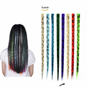 FESHFEN 8 Pcs Leopard Print Straight Clip on in Hair Extensions Hairpieces 46cm Long Remy Hair Coloured Party Highlights Hair Accessories DIY Hair Decoration Cosplay with Gift Hairpin