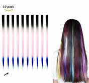 FESHFEN 10 Pcs Black Pink and Blue Three Tones Ombre Straight Clip on in Hair Extensions Hairpieces 46cm Long Remy Hair Coloured Party Highlights Hair Accessories DIY Cosplay Gift Hairpin
