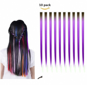 FESHFEN 10 Pcs Black to Light Purple Two Tones Ombre Straight Clip on in Hair Extensions Hairpieces 46cm Long Remy Hair Coloured Party Highlights Hair Accessories DIY Cosplay Gift Hairpin
