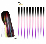FESHFEN 10 Pcs Black Pink and Purple Three Tones Ombre Straight Clip on in Hair Extensions Hairpieces 46cm Long Remy Hair Coloured Party Highlights Hair Accessories DIY Cosplay Gift Hairpin