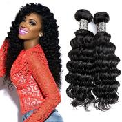 Queen Plus Hair Deep Weave 100% 7A Brazilian Virgin Human Hair Pack of 3 Bundles Mixed Length Unprocessed Natural Black Colour Hair Deep Curly Wave