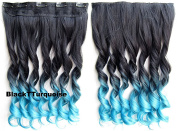 Ombre Dip-dye Colour One Piece Long Curl/curly/wavy Synthetic Thick Hair Extensions Clip-on Hairpieces 28 Colours