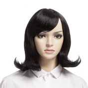 YOPO Wig, Short Wavy Black Wigs for Women with Free Wig Cap & Bobby Pins, 41cm Halloween Cosplay Daily Medium Length Wig