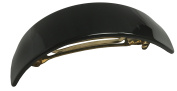 French Amie Handmade Black Curved Large Hair Clip Barrette Strong Grip Celluloid Automatic Hair Clip Hair Barrette