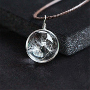 KeyZone Hot Stylish Crystal Glass Ball Long Strip Leather Chain Pendant.Necklace