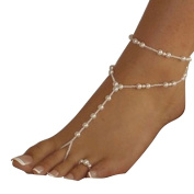 Ularmo Womens Beach Imitation Pearl Barefoot Sandal Foot Jewellery Anklet Chain