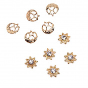 Rain Queen 3d Nail Art Set Decorations Gold Hollow Sun Flower and Moon Star Charms 10pcs