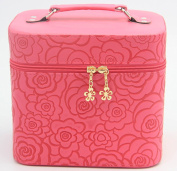 HOYOFO 2-Piece Set 3D Rose Pattern Large Makeup Travel Bag,Red