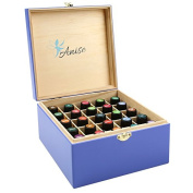 Anise Wooden Essential Oil Box For 25 Bottles Of 5, 10 and 15 ml, Blue With Purple Touch
