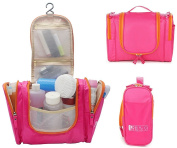 Lmeison Premium Large Waterproof Toiletry Bag Travel Organiser Cosmetic Bag for Women Makeup or Men Shaving Kit with Hanging Hook for vacation - Pink