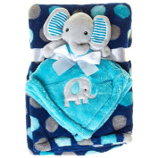 Baby Gear Blue Polka Dot Baby Blanket and Elephant Security Blanket Set