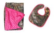 Realtree Pink Camo Minky Dot Baby Blanket & Bib Gift Set