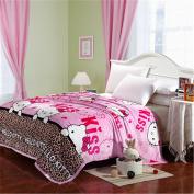 EUCH Childrens Blankets series Leopard Cute HELLO KITTY Flannel Blanket