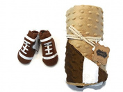 Mud Pie Football Sports Baby Boy Minky Blanket Bundle With Football Socks