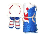 Mud Pie Baseball Sports Baby Boy Minky Blanket, Baseball Socks and Baseball Knit Hat Bundle – 3 Items