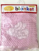 """Bless This Child"" Apliquéd Baby Blanket 80cm x 80cm - Pink"