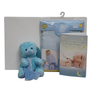 New Baby Gift Set Bundled with Sleepsack Swaddle, Getting Your Baby to Sleep Booklet, and a Blue Teddy Bear