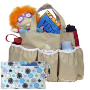 kilofly Nappy Bag Insert Organiser, Multiple Pockets, Khaki, + Wet Dry Bag Value Combo