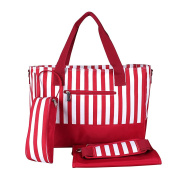 LCY Stripe Design Nappy Bag Set, with Changing Mat, Crossbody bag strap, Stroller hooks and Bottle Bag, Red and White Stripes