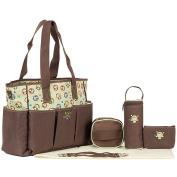 LakeRom 7 pcs/set Multifunction Large Capacity Baby Nappy Bag Nappy Changing Pad Travel Mummy Bag Tote Handbag Set