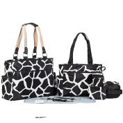 LakeRom 7pcs/set Multifunction Large Capacity Baby Nappy Bag Nappy Changing Pad Travel Mummy Bag Tote Handbag Set