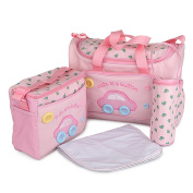 LakeRom Multifunction Waterproof Baby Nappy Bag Nappy Changing Pad Travel Mummy Bag Tote Handbag Set