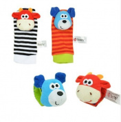 4 pcs/lot (4 pcs=2 pcs waist+2 pcs socks) baby Sozzy Garden Bug Wrist Rattle and Foot Socks