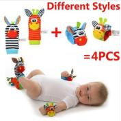 4 pcs/lot (4 pcs=2 pcs waist+2 pcs socks), baby rattle toys Sozzy Garden Bug Wrist Rattle and Foot Socks