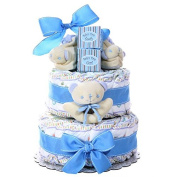 Save Yourself The Work Of Preparing A Nappy Cake By Picking Up This Ready-To-go Gift. Two-Tier Nappy Cake
