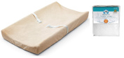 Contoured Changing Pad with Ultra Plush Changing Pad Cover & Waterproof Mattress Pad, Ecru