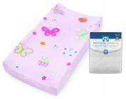 Contoured Changing Pad with Changing Pad Cover & Stain Protection Mattress Pad, Butterfly/Ladybug