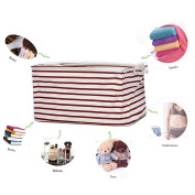 GreenForest Cotton Blend Linen Convenient Collapsible Storage Bin Basket With Totes,Closet Drawer ,Red Strips