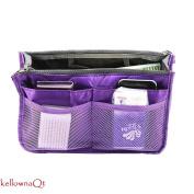 Ladies Large Travel Insert Liner Organiser Handbag Purse Bag - purple