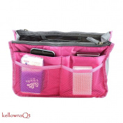 Ladies Large Travel Insert Liner Organiser Handbag Purse Bag - rose red