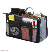Ladies Large Travel Insert Liner Organiser Handbag Purse Bag - black