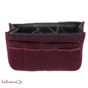 Ladies Large Travel Insert Liner Organiser Handbag Purse Bag - wine red