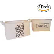 Jute Storage Basket (2 PACK), Foldable Basket Organiser Perfect for Children Toys, Clothing, Office Supplies. Fit Most Shelves. Eco-Friendly