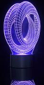 PowerTRC 3D LED Optical Illusion Corkscrews Night Light Multi-coloured USB Powered