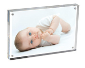 NIUBEE Clear Magnetic Acrylic Photo Frame, Self Standing Picture Frames (Square Corner)
