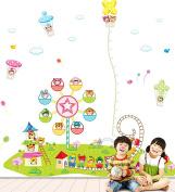 Wallpark Cartoon Happy Amusement Park - Ferris Wheel, Roller Coaster - Height Sticker, Growth Height Chart Measuring Removable Wall Decal, Children Kids Baby Home Room Nursery DIY Decorative Adhesive Art Wall Mural