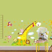 Wallpark Large Lovely Animals Shining Stars Giraffe Height Sticker, Growth Height Chart Measuring Removable Wall Decal, Children Kids Baby Home Room Nursery DIY Decorative Adhesive Art Wall Mural